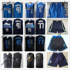Homens dalla.Mavericks Luka Doncic 77 Jersey Nowitzki Porzingis City BlackEdição Nowitzki 41 Kristaps Basketball Camisas Shorts