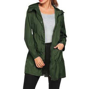 Women's Jackets Lace-up Jacket Hooded Raincoat Women Coat Plus Size Bomber Outdoor Waterproof Sunscreen Lightweight Rain Dropship N10