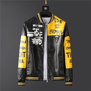 Новый 2020 осень и зима Mens PU кожаная куртка Motorbiker отложным воротником Молнии Slim Fit Пальто Куртки