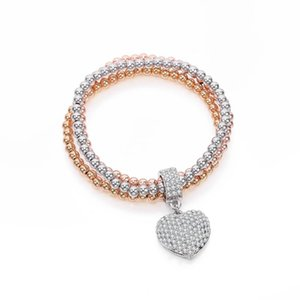 Adjustable Luxury Crystal Heart Charm Beaded Bracelets For Woman Gold Silvery Multi Chains Bracelet 2020 New Fashion Jewelry