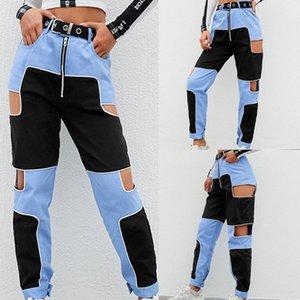Женская Hip Hop Cargo Pants Женщины выдалбливают высокой талией Брюки Streetwear Лоскутная Sweatpants и бегуны