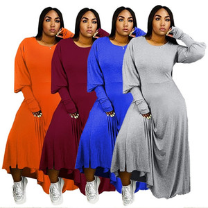 Случайные женские платья 4 цвета сплошные длинные рукава длинное платье весна осеннее пот платья свободно один кусок