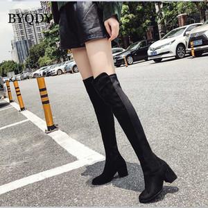 BYQDY Uyluk Yüksek Boots For Women Platformu Fetiş Knee Boots Kırmızı Siyah Flock Kış Uzun Üzeri Lady Chunky Topuklar Ayakkabı