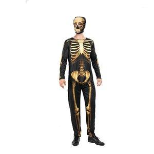 قناع عرضي كم طويل نحيل الموضوع الأزياء أزياء للجنسين مهرجان الملابس هالوين الذهب الهيكل العظمي حلي مع