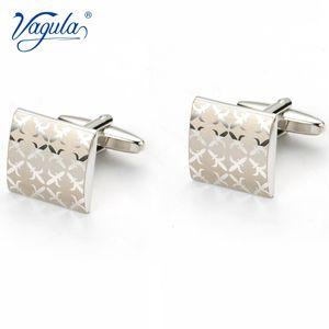 VAGULA Gemelos Classic Silver-color Laser Copper Men's Cufflink Luxury gift Party Wedding Suit Shirt Button Cuff links 197