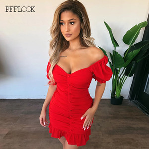 PFFLOOK 2020 Summer Ruffles Mini Red Dress Off Shoulder Sexy Backless Nightclub Party Dresses Bodycon Elegant Female Vestidos