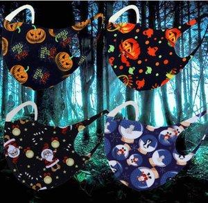 Helloween Рождественские маски Снежинки тыква олень олень рот хеллоуин печатные маски для лица моющийся мультфильм анти пыль Xmas Mask GWC2330