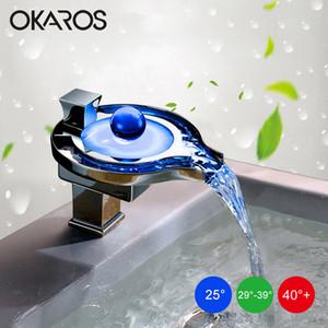 OKAROS LED الحنفية LED حمام حوض صنبور نحاس كروم منتهية شلال صنابير الطاقة المائية حوض الحنفية خلاط Torneira