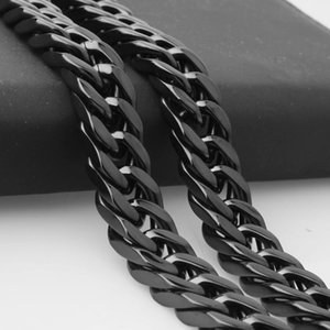 Erkekler Erkek Paslanmaz Çelik Zincir Kolye Buğday Bağlantı Siyah Moda Takı 7-40 inç 10mm Granny Chic Vintage kolye