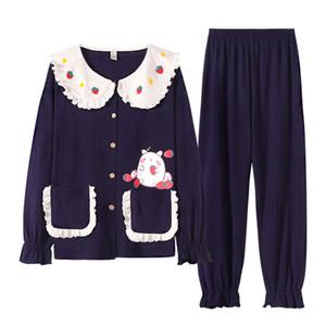 Sonbahar Yeni% 100 Pamuk Pantolon Bayan Takım Elbise Doll Yaka Tatlı Prenses Stili Pijama Kadın Home Service Uzun kollu