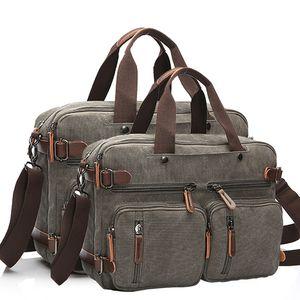 Sınır Ötesi Casual Tuval Çanta İş Çantası El Taşıma ve Omuz aslant Shoulder Bag Büyük 17-İnç Bilgisayar Taşıma