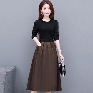 2020 Automne Nouvel Qun du ventre couvrant à manches longues minceur mince femmes zhang Xiu Xiu qunALINE DRESS zhang Qun mi-longueur élégante larg mode