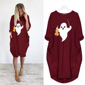 Карманы Мода женской одежды Halloween Сыпучие Женские платья плюс размер отпечатанных с длинным рукавом Платья с Womens