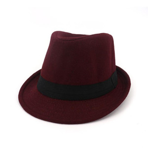 Wide Brim Hats Classics Autumn 2021 Winter Short Felt Fedoras Hat Men Black Red Panama Vintage Top Mens Gentleman Fedora