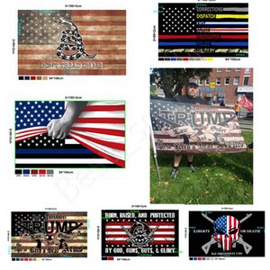 New Customized Trump Flag 2020 90*150cm USA Police Flags 2nd Amendment Vintage American Flag Gadsden Banner Flags CYZ2802