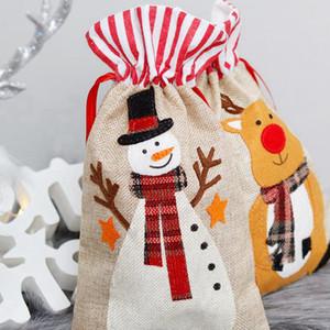 Рождественские подарочные пакеты 19 * 30см льняной мешок Санта Sack Drawstring сумка Elk Санта Клаус Дети конфеты сумки Новогодние украшения CYZ2823 200шт