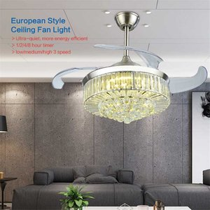 Riyueda Wholesale China Products Modern Crystal Hidden Blade Air Cooling Ceiling Fan With Lamp