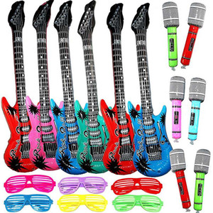 18 Pack Inflatable Rock Star Toy Set for Concert Theme Party Favors Birthday Electric Guitar Microphones Shutter Shading Glasses