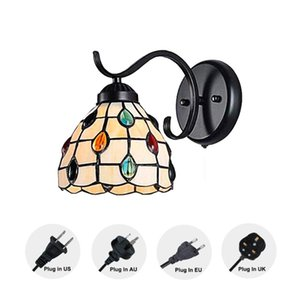 Retro Dreamy Tiffany Wall Lamp LED Sconces Stained Glass Corridor Light Plug in Cord for Bedroom,living room Bulb Not Included