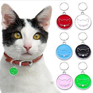 Etiqueta personalizada Ronda preciosa identificación del perro con el hueso impresión Gatos Perros correa de cuello, información de etiquetas colgantes en el collar de Preventin