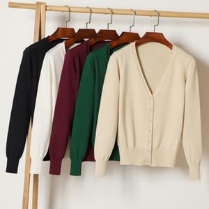 Kumeiya Frauen gestrickte schwarze Strickjacke Herbst-Winter-beiläufige V-Ausschnitt Langarm Crochet Weiß Knit-Strickjacke-Mantel Frauenoberteile