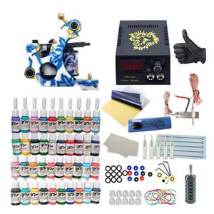 Beauté Santé Tattoo Kit 1 Machines 6/14/40 Couleurs Encres Tattoo Aiguilles d'alimentation Fournitures Set équipement Kits tatouage