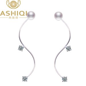 ASHIQI 925 Sterling Silver earrings Natural Freshwater Pearl stud Earring For Women Fashoion Jewelry
