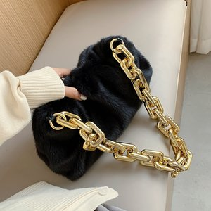 Faux Fur Thick Chain Armpit Bag 2020 Winter Fashion High-quality Soft Plush Women's Designer Handbag Travel Tote Shoulder Bag