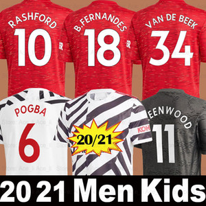 20 21 Manchester United camiseta de fútbol MAN UTD RASHFORD POGBA BRUNO FERNANDES F.FERNANDES GREENWOOD 2020 2021 Hombres Niños kit camisetas shirt calidad superior de Tailandia