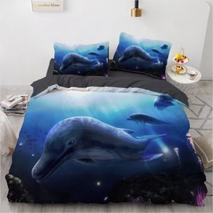 3D conjuntos de cama Sea Dolphin Azul edredon Quilt Cover Set Consolador Lençois Pillowcase Rei Rainha completa 265x230cm Início Texitle
