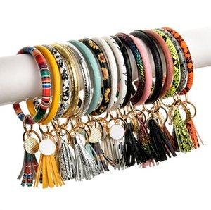 Leather Tassels Bracelet Keychain 35 Colors PU Leather Wrist Key Ring Sunflower Leopard Bangle Key Holder Party Favor OOA9127