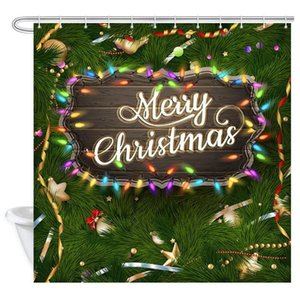 Christmas Shower Curtain, Golden Christmas Greeting with Baubles on Fir-Tree Branches Bathroom Curtain Shower Curtain Bathroom