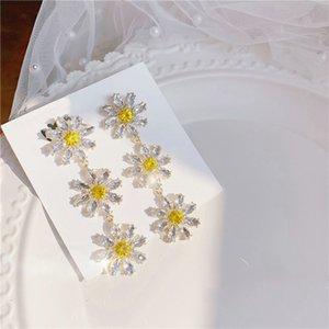 qualité coréenne élégant cristal jaune Fleur Pétale Tassel Boucles d'oreilles pour les femmes étudiants Fashion Party Pendientes Bijoux
