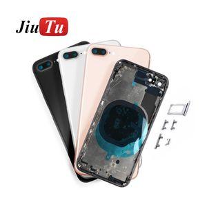 Geri Konut iPhone 8G 8 Plus X Geri Orta Çerçeve Şasi Tam Konut Montaj Pil Kapağı Kapı Arka