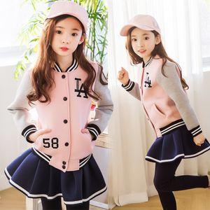Brasão + Ruffles Culottes 2 Pcs Infantil Roupa P373 Uniforme pai-filho Baseball Clothing Set Primavera Queda Meninas Velvet Desporto