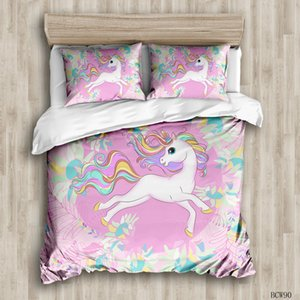 3D design cute cartoon pink luxury duvet cover Quilt cover pillow case kids full size sets bed comforter duvet cover bedroom pillowcase