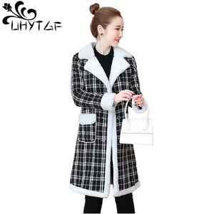 UHYTGF New Winter Elegant Overcoat Women Plus velvet thicken Wool Blend Coat Women Woolen coat Long Sleeve Turn-down Jacket X633