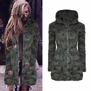 Automne 2020 Les femmes Camouflage Manteau Mode Zipper Slim Drawstring Veste à capuche Printemps Automne manches longues Hip Hop Camo Outwear