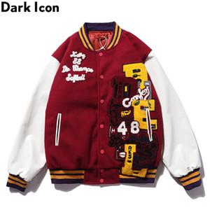 Oscuro Icono de la PU del remiendo del cuero de la chaqueta de bombardero bordado acolchado de invierno gruesa de los hombres de las chaquetas de béisbol de la chaqueta del hombre