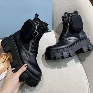 Дизайнерские Женщины Зимний Мартин Обувь Матовый Rois Кожаные Боевые Боевые Ботинки Черная Платформа Пеночки Лодыжки со съемным мешком