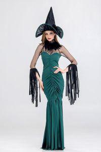 Платья Складывает Тонкие сексуальные женские платья партии с Hat Cosplay кисточкой Club Одежда Halloween Witch Дизайнер Womens