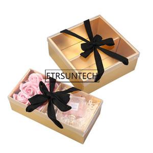 Cadeau cadeau 50pcs Vide Portable Flower Dessert Boîte d'emballage Panier de papier Cadeaux Pliant Fleuriste Fournitures
