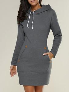 Hooded Long sleeve Hoodies Dress Vintage Casual Loose drawstring Hoodies Ladies Cotton Pockets Baggy zipper Hooded Pullover new