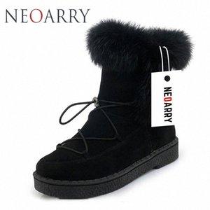 Neoarry invierno botas para mujer de la nieve botas de encaje de Calentamiento piel de la manera del tobillo de los botines de tacón bajo Rusia Calzado de las señoras del tamaño grande LT70 H7Lo #