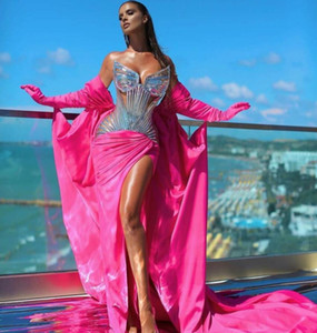 Evening dress Yousef aljasmi Kendal Jenner Women dress Kim kardashian Mermaid Pink Sweetheart Gold Feather Appliques