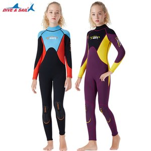 DIVE&SAIL Girl Youth Teen Spring Wetsuit 2.5mm diving suit girls wetsuit one piece body suit swimsuit neoprene