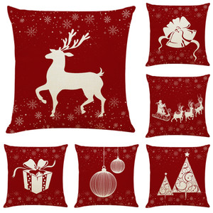 Art Christmas Linen Cushion Covers Home Office Sofa Square Pillow Case Decorative Pillow Covers Without Insert (18*18Inch)