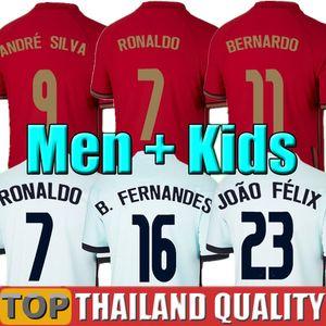 2020 Portugal maillots de foot RONALDO JOAO FELIX NEVES BERNARDO CANCELO RUBEN NEVES 2021 équipe nationale maillot de football 20 21 Mais Femmes Kit enfants uniforme