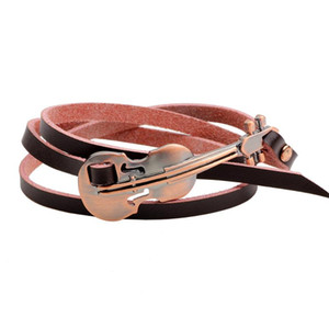 VOQ New Design Antique Style Guitar Bracelet 3 Laps Adjustable Genuine Leather Bracelets for Women Men Jewelry 2020 Hot Sale