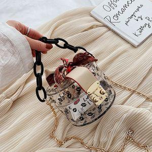 Designer- Summer Fashion New Transparent Mini Tragetaschen für Frauen Luxus-Handtaschen-Kette Schal Design Handtasche Lady kleine nette Handtaschen